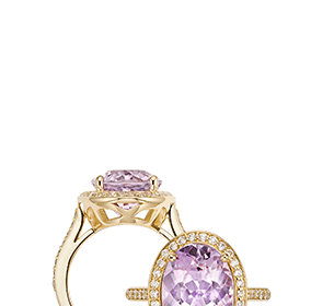 Rose de France and diamond coktail ring