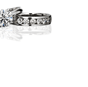 Solitaire ring and diamond band